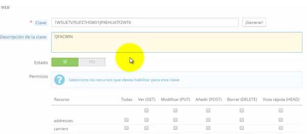 activar servicio web de prestashop 2: obtener clave