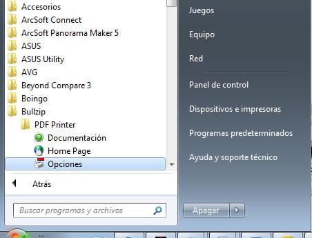 configurar la impresora PDF externa: opciones