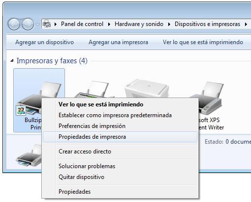 Configurar impresora externa, propiedades de impresora