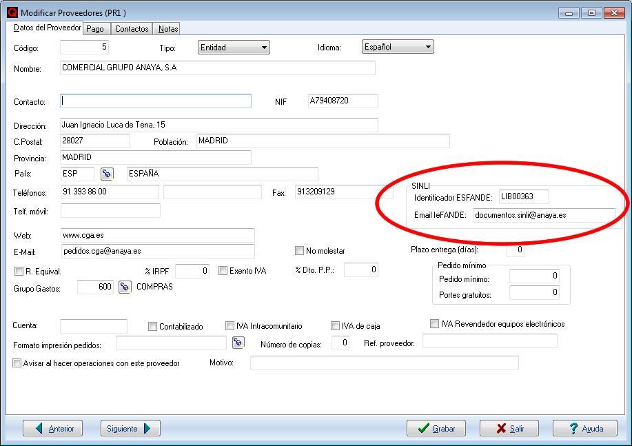 Datos SINLI del proveedor en QFACWIN