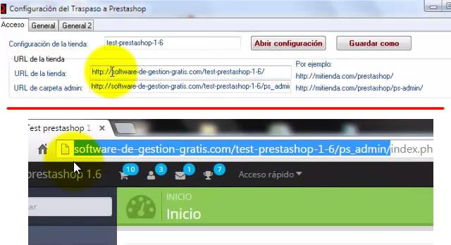 Parámetros de acceso del conector PrestaShop de QFACWIN, indicar URL