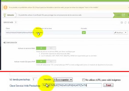 Parámetros de acceso del conector PrestaShop de QFACWIN, clave del Web Service