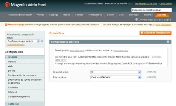 Importar comandes de Magento: activar format
