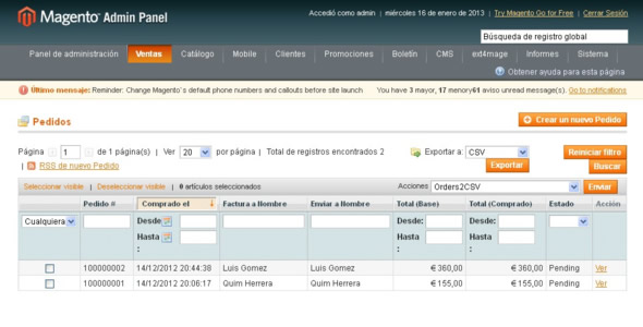 Importar comandes de Magento: generar CSV